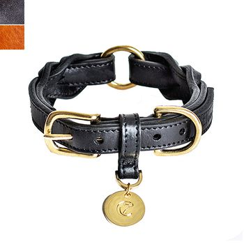 Cloud7 HYDE PARK Braided Leather Dog Collar, S/M