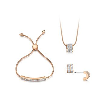 Buckley London Ice Cube Rose Pendant, Bracelet and Earring Set