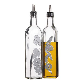KitchenCraft Italian Glass Oil & Vinegar Bottle Set 2pcs