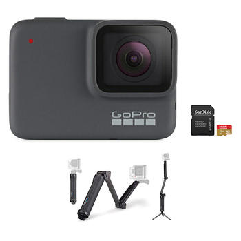 GoPro HERO 7 Camera (Silver) + 3-Way Mount + microSD Card 32GB